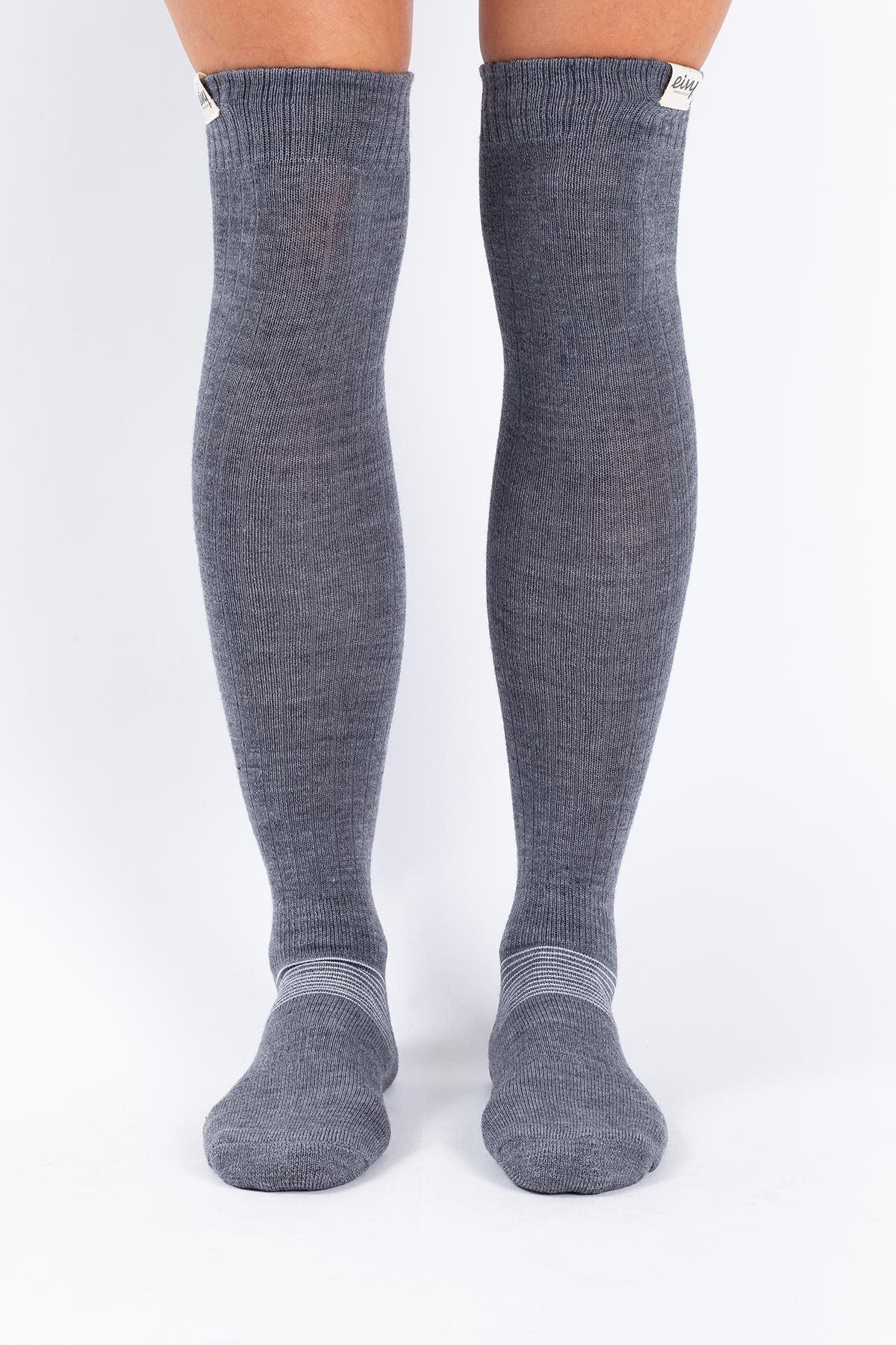 Strumpor | Rib High Wool - Grey Melange